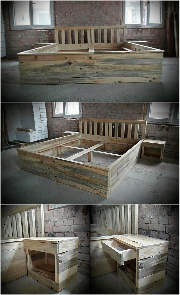 Recycled Wood Pallet Giant Bed Frame with Side Tables