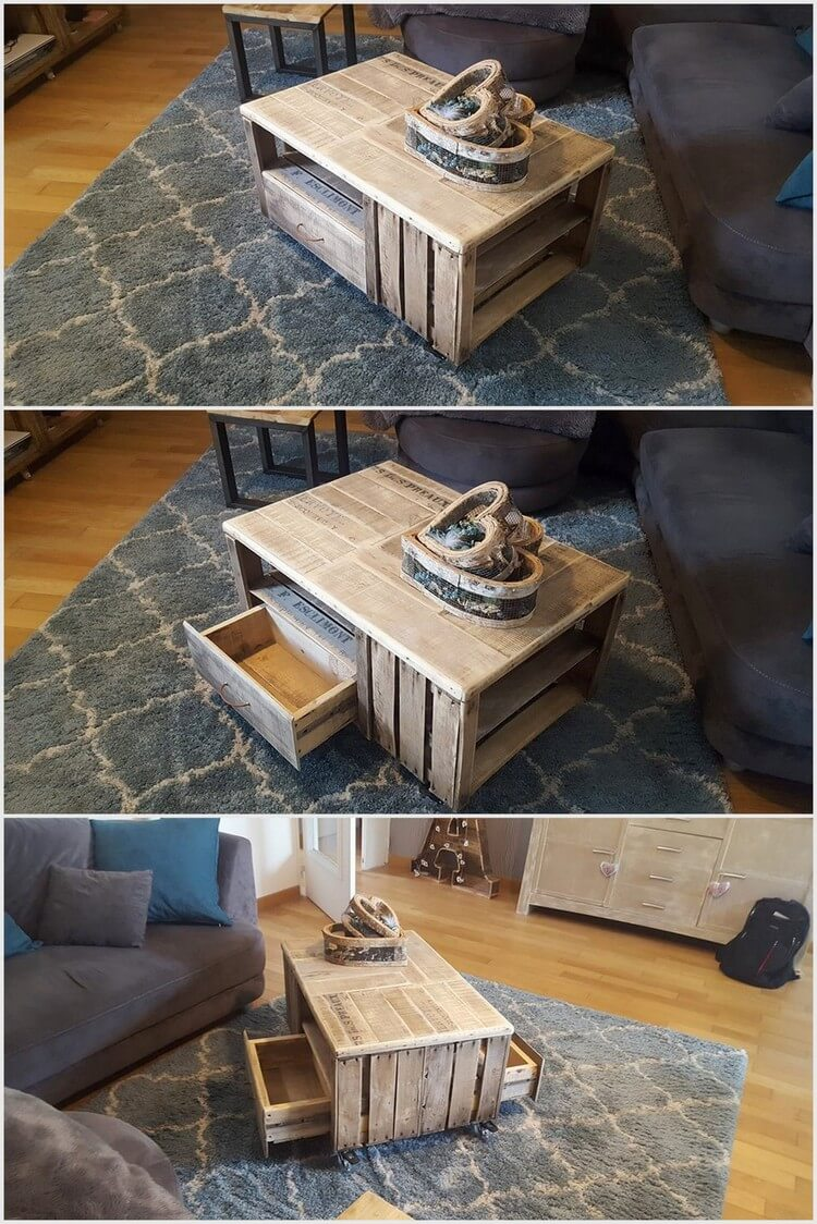 Recycled Wooden Pallet Table with 2 Drawers