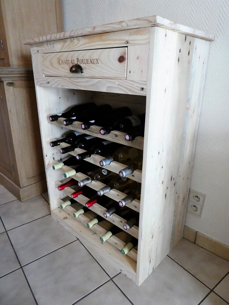 Diy recycled pallet wine rack with drawer pallet wood for Pallet wine cabinet