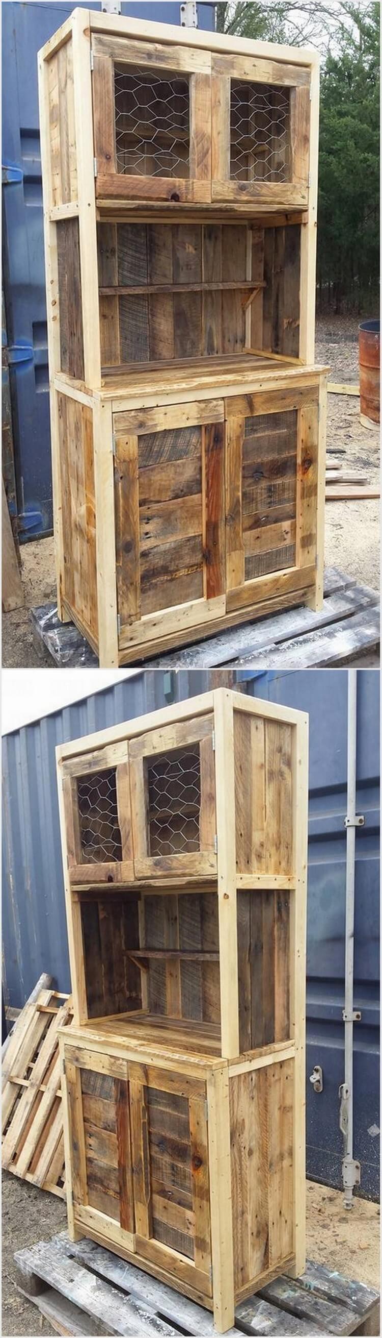 Rustic Pallet Storage Cabinet