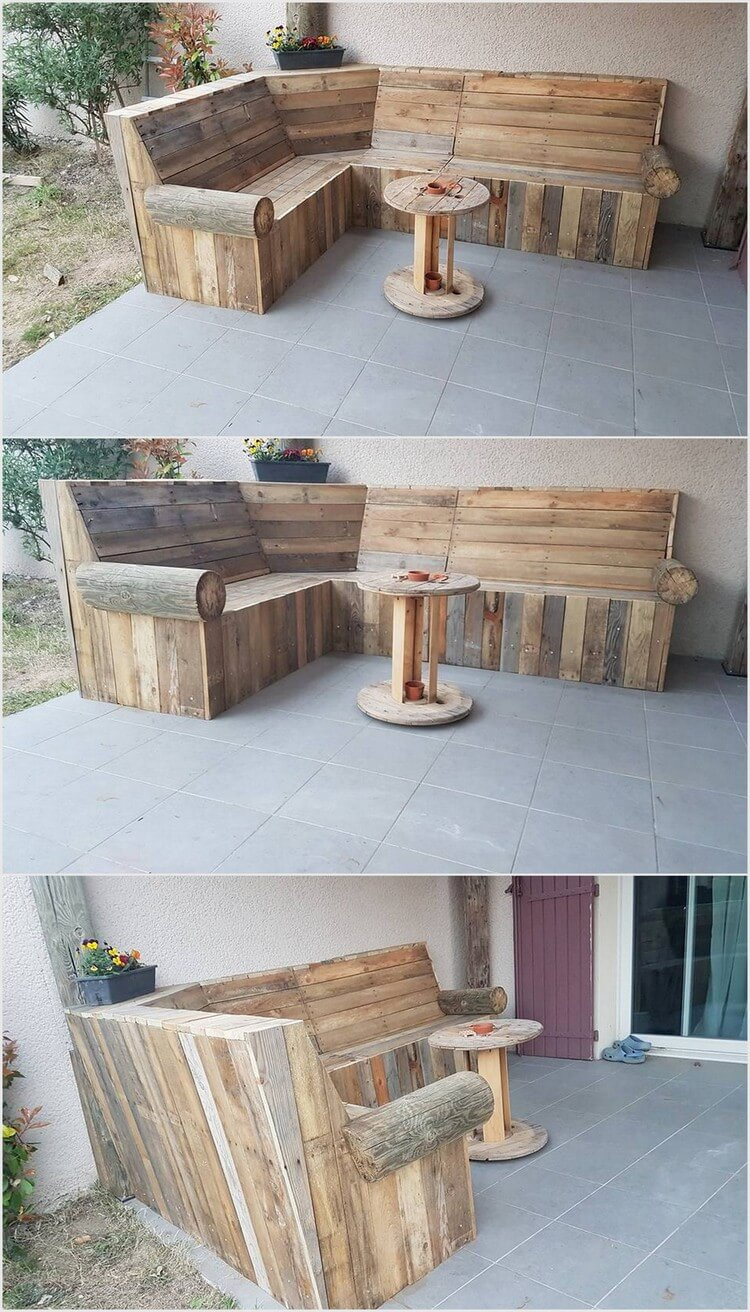 Rustic Wood Pallet Corner Couch