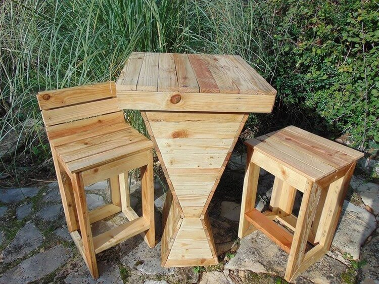 Unique Wood Pallet Table and Chairs
