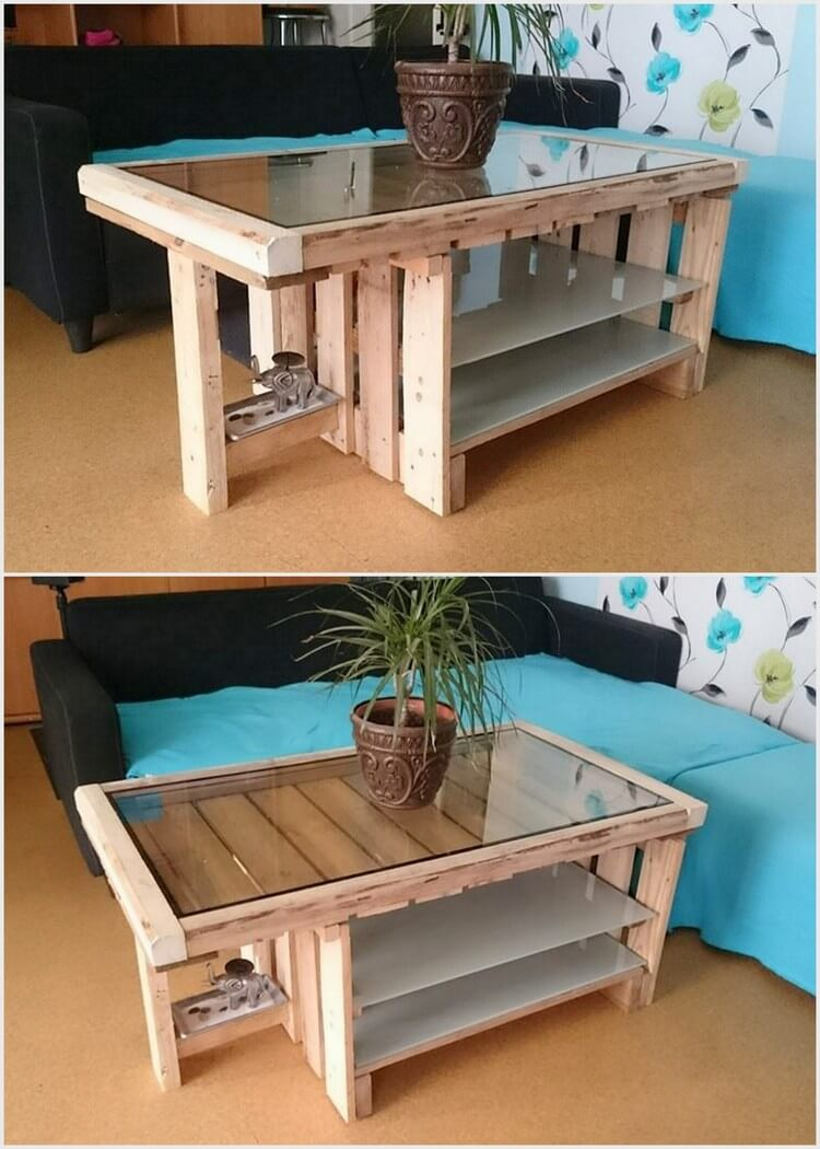 Unique Wooden Pallet Table with Glass Top