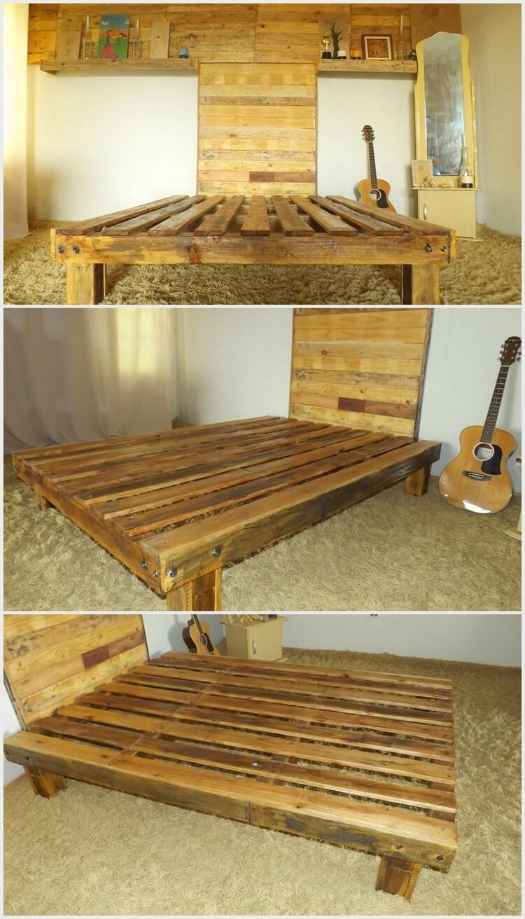 Wood Pallet Bed Frame with Headboard and Wall Paneling (2)