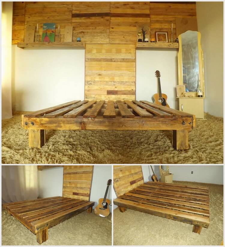 Wood Pallet Bed Frame with Headboard and Wall Paneling