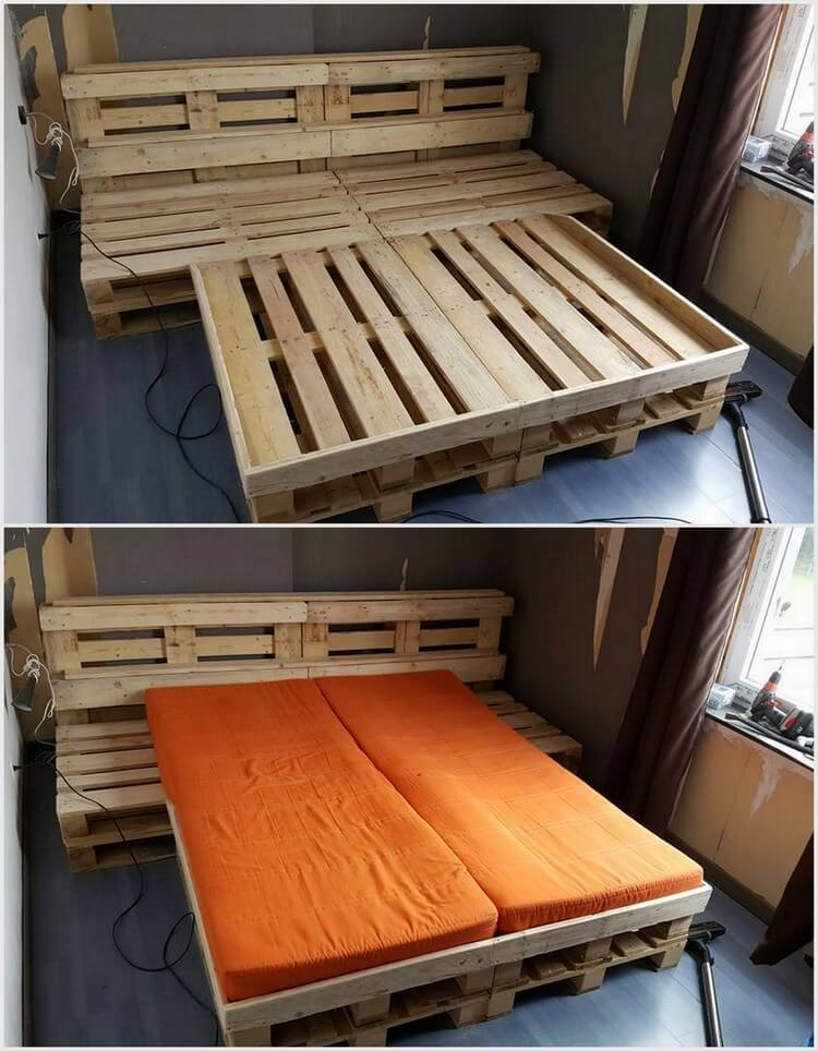 Wood Pallet Bed Frame with Headboard