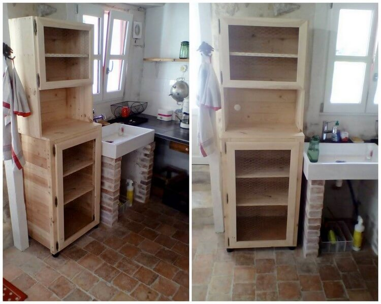 Wood Pallet Cabinet for Bathroom
