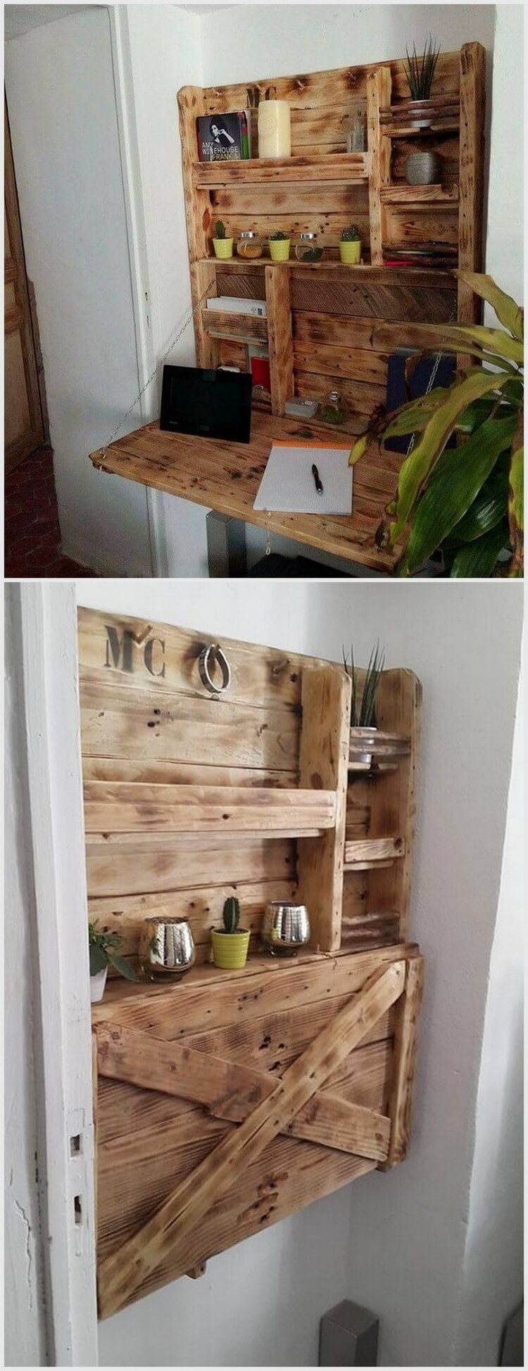 Wood Pallet Folding Desk Cum Shelf