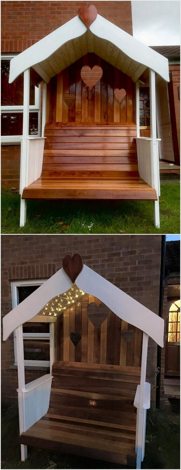Wood Pallet Gazebo Bench with Lighs