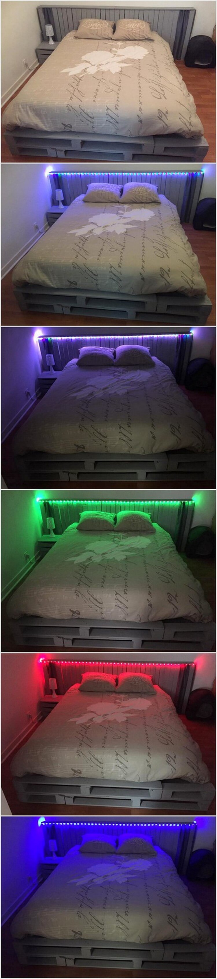 Wood Pallet Headboard with Lights (2)