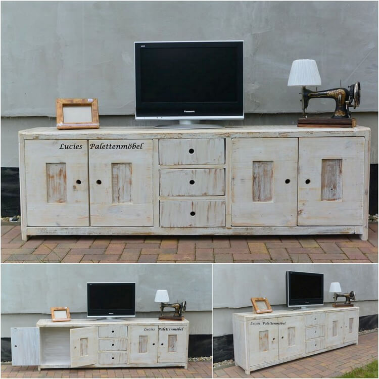 Wood Pallet Media Table - Cabinet (2)