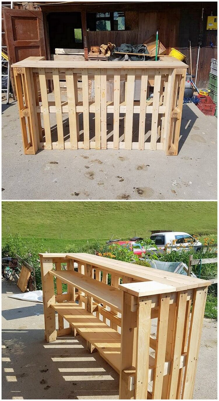 Wood Pallet Patio Bar Counter