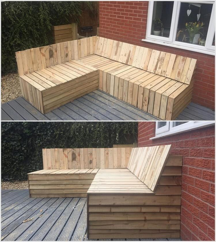 Wood Pallet Patio L Shape Couch