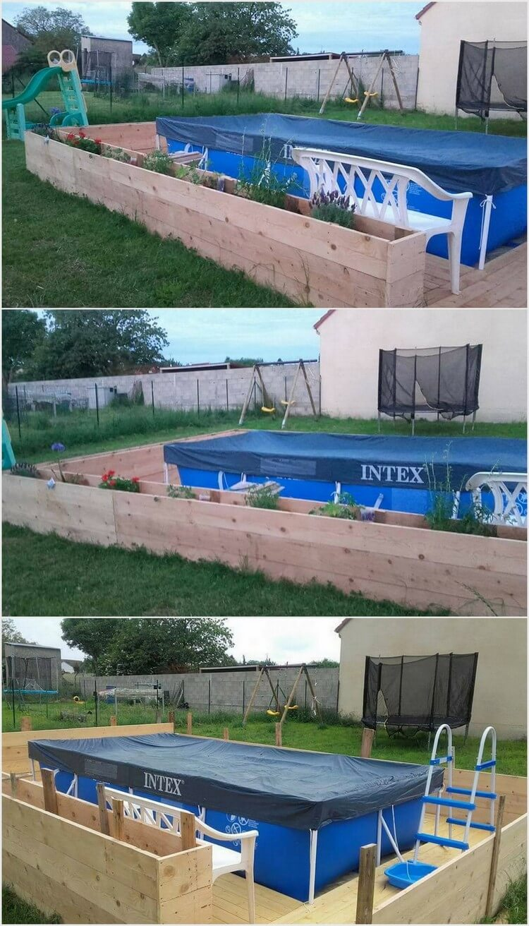 Wood Pallet Planter Around Swimming Pool