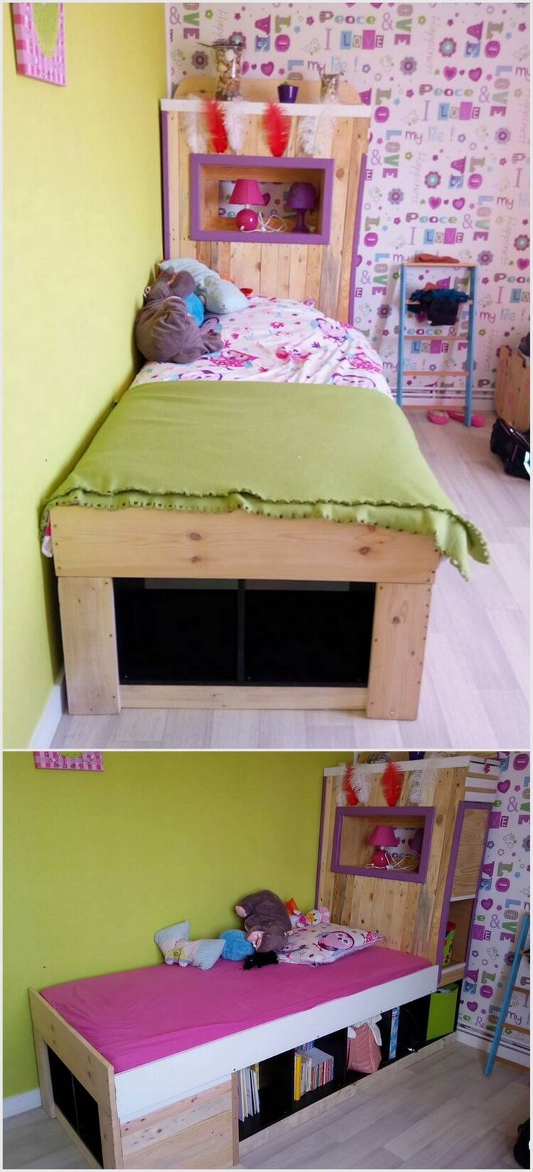 Wood Pallet Single Bed with Storage