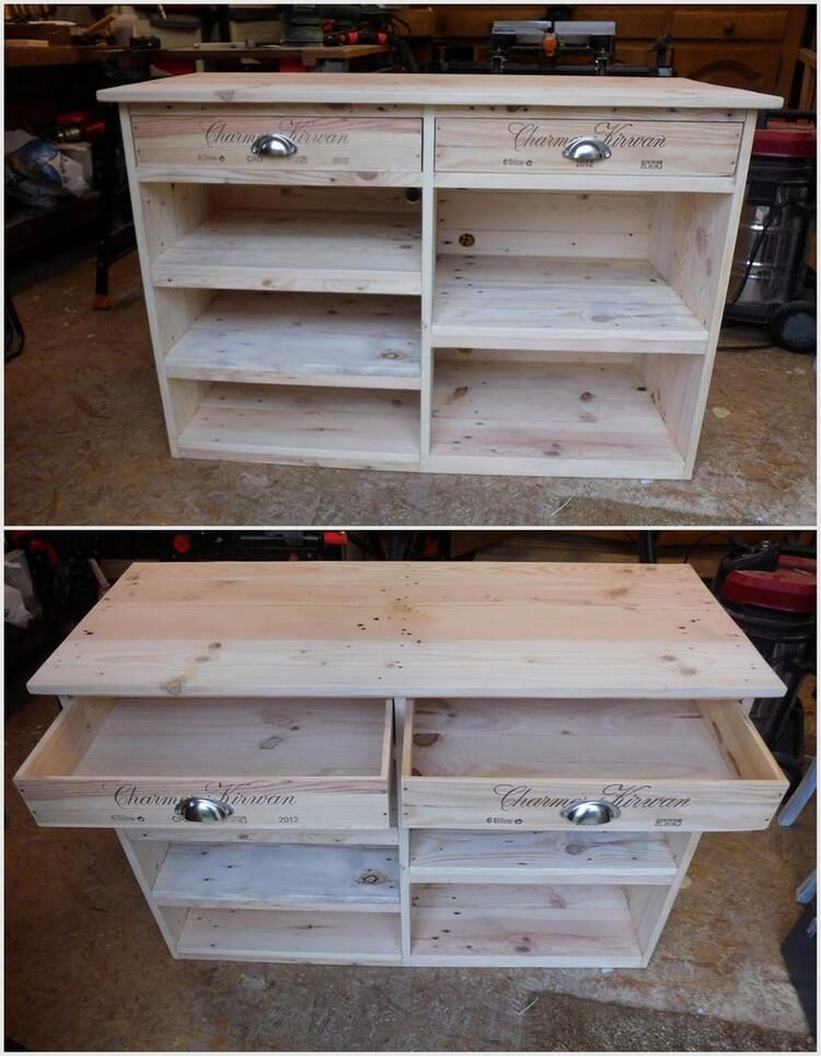 Wood Pallet TV Stand Media Cabinet