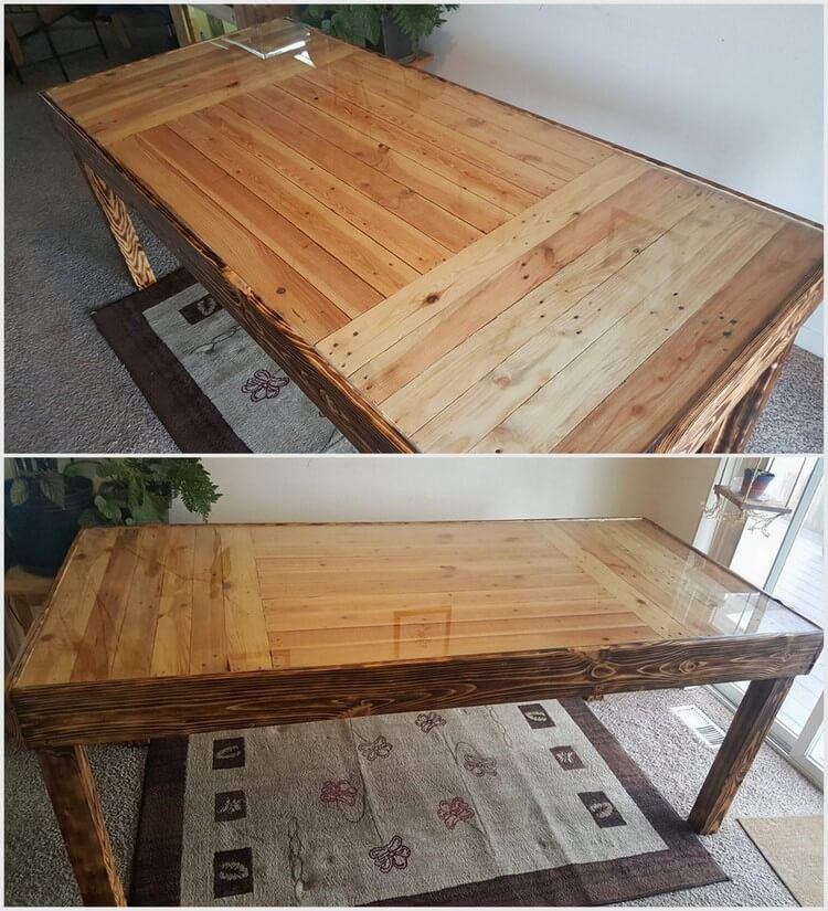 Wood Pallet Table with Glass Top