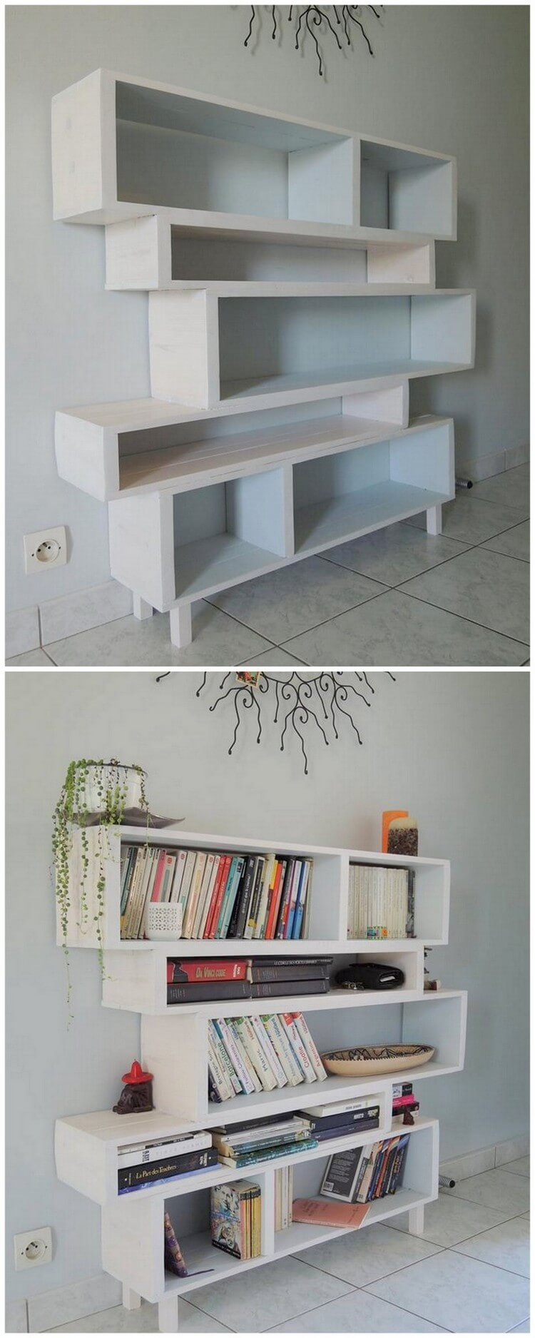 Wood Pallets Made Bookshelf