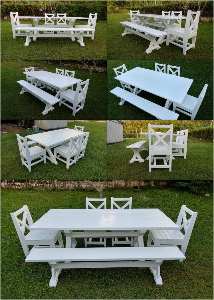 Wood Pallets Made Dining Furniture Set