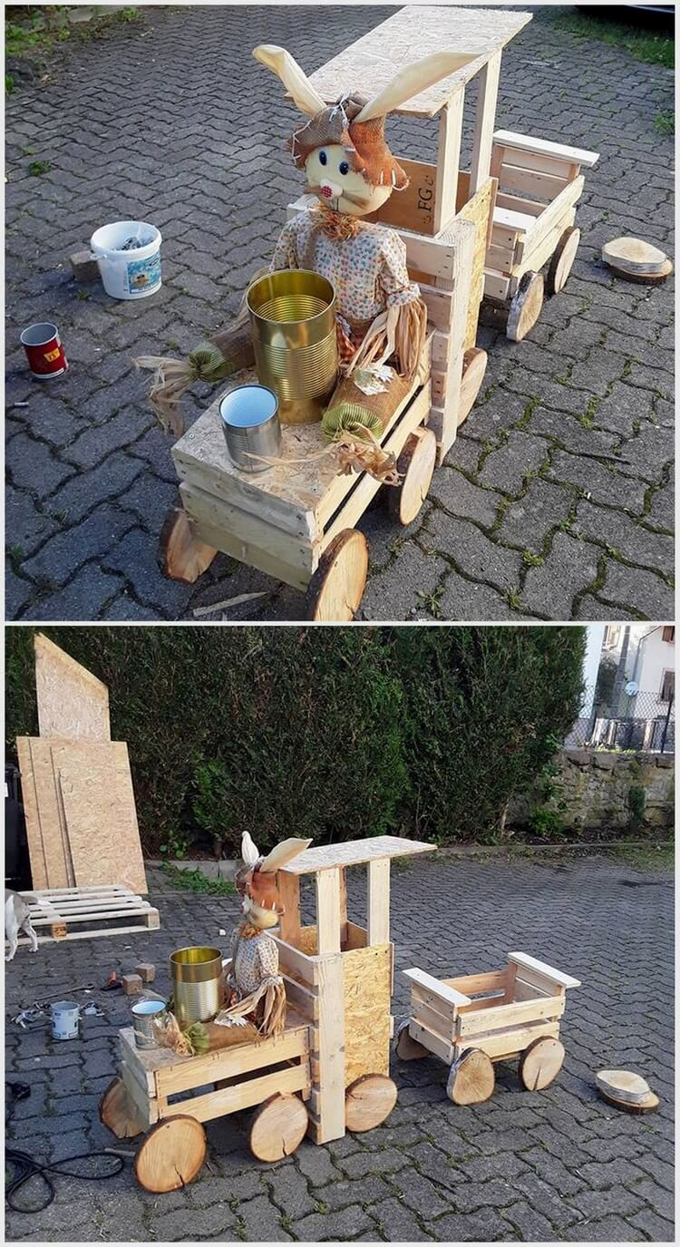 Wood Pallets Made Train for Kids