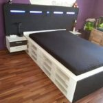 Wooden Pallet Bed with Headboard and Side Tables