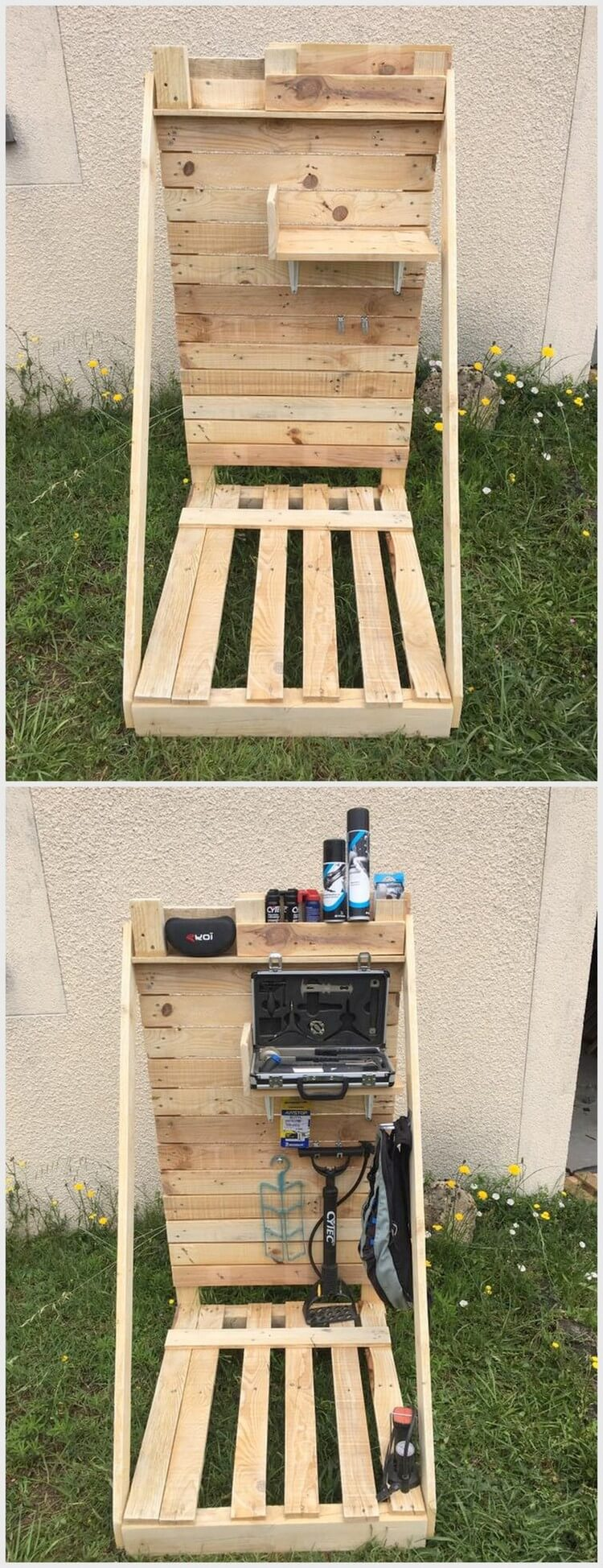 Wooden Pallet Bicycle Stand