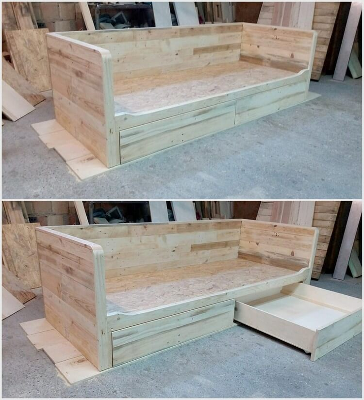 Wooden Pallet Couch with Storage Drawer