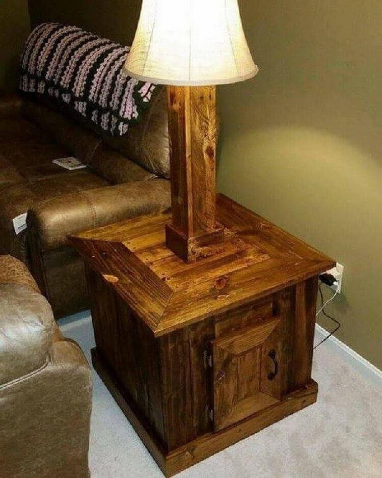 Wooden Pallet Lamp with Drawer