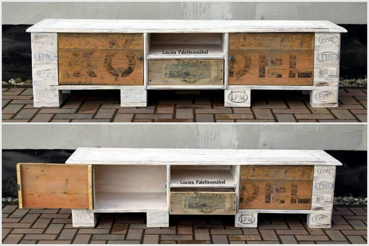Wooden Pallet Media Table - Cabinet