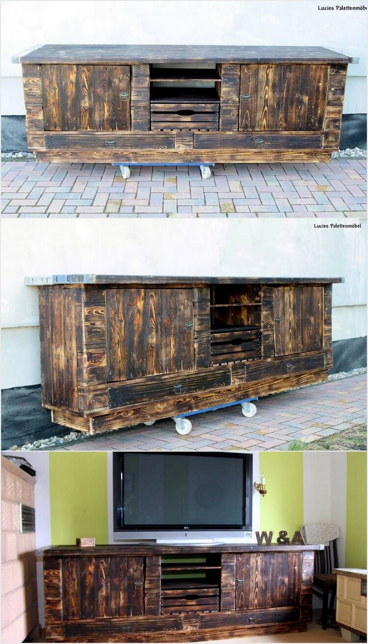 Wooden Pallet Media Table or Cabinet