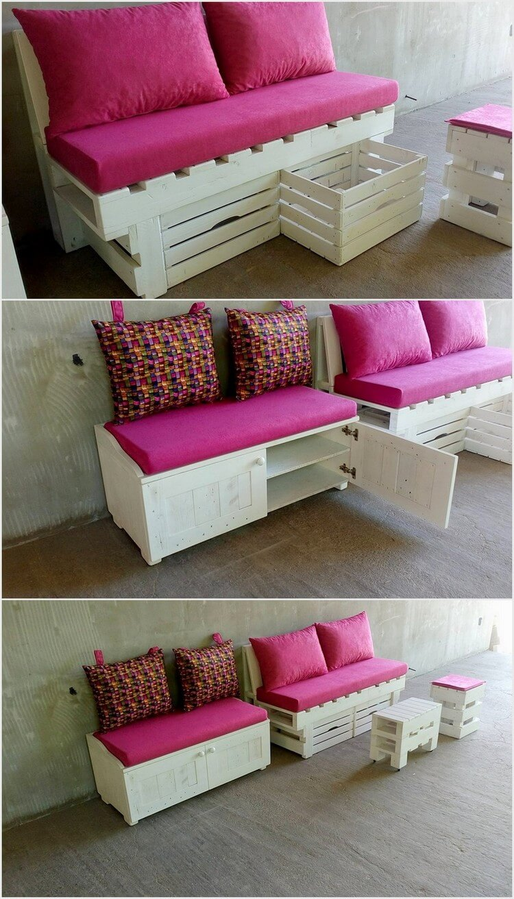 Wooden Pallet Seats with Storage