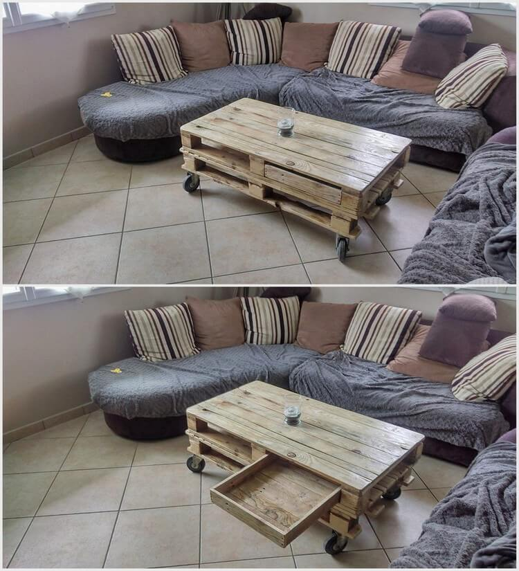 Wooden Pallet Table with Drawer
