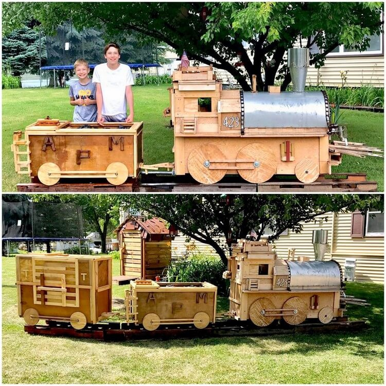 Wooden Pallet Train for Kids