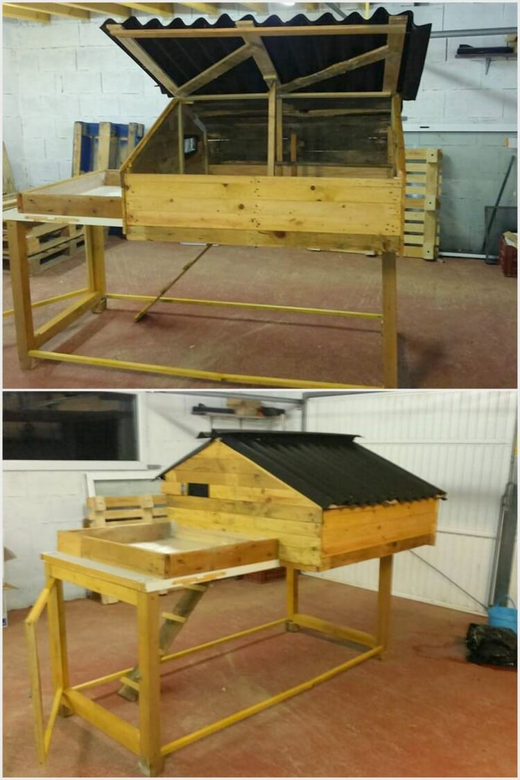 Wooden Pallets Made Rabbit Hutch