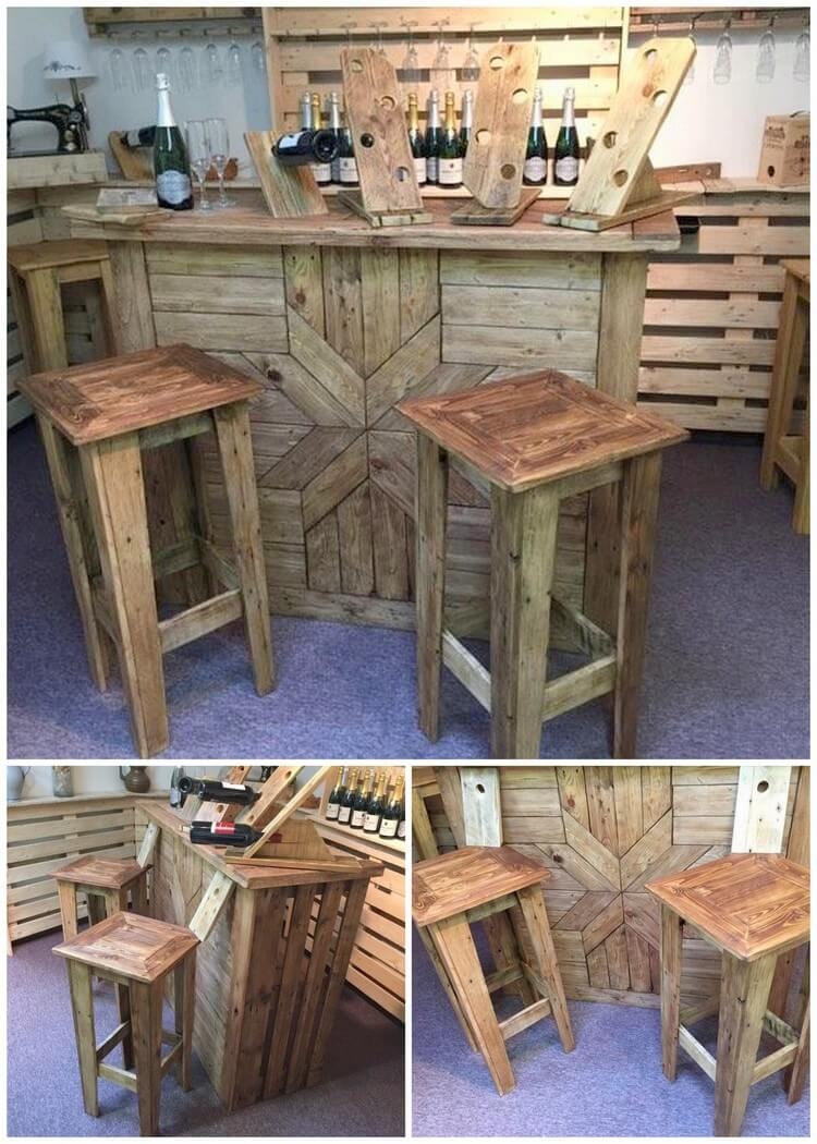 Pallet Bar Table and Stools