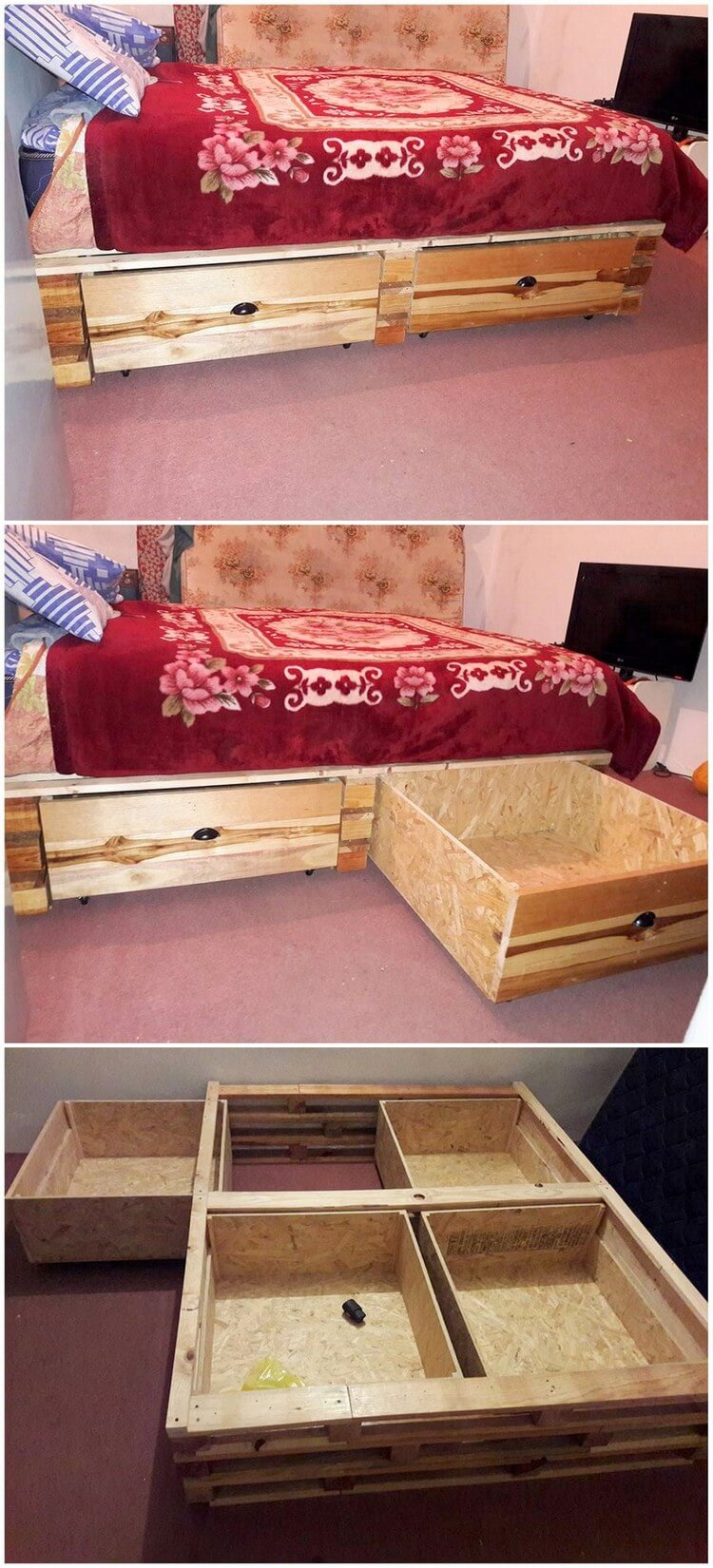Interesting diy ideas with recycled wood pallets pallet for How to make a pallet bed with drawers