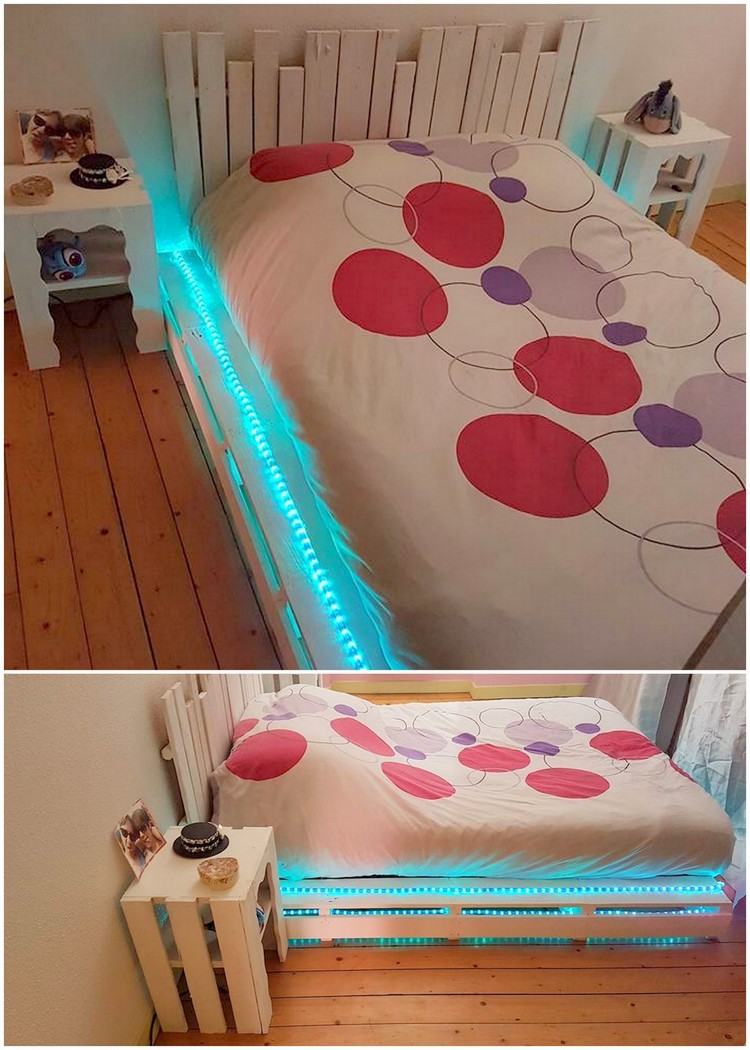 Pallet Bed with Lights and Side Table