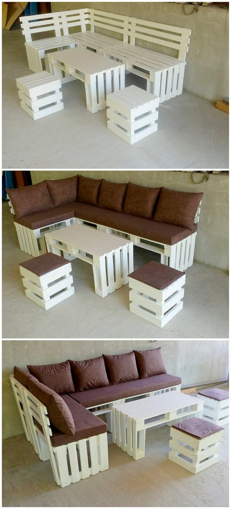 Pallet Couch, Table and Stools Furniture Set