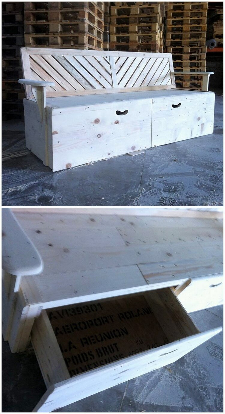 Pallet Couch with Storage Drawer