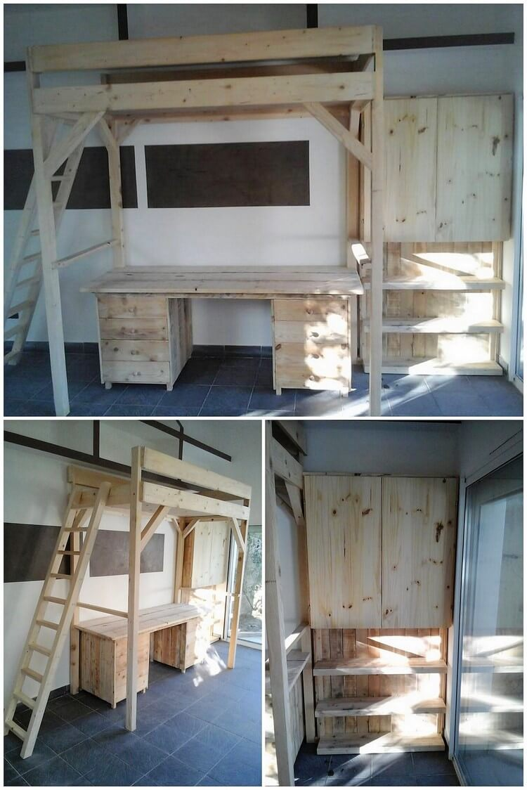 Pallet Dresser, Bunk Bed with Stairs and Cabinet