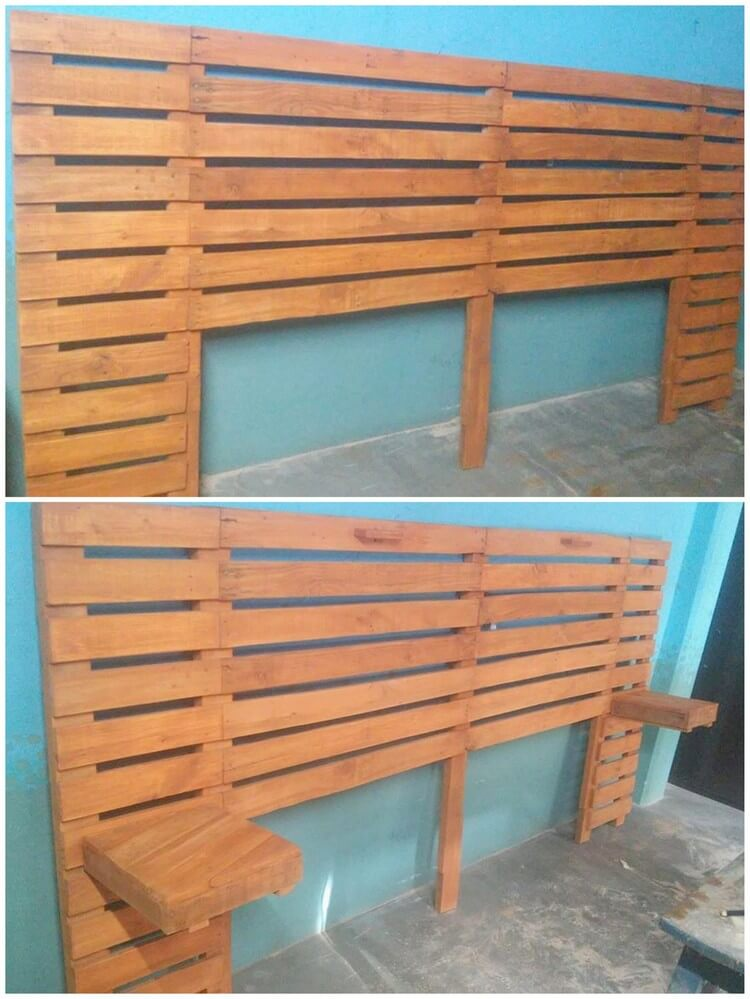 50 easiest ways of recycling shipping wooden pallets for Pallet headboard with shelves
