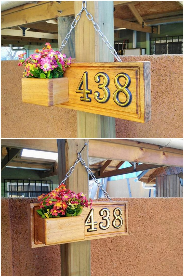 Pallet House Number and Planter