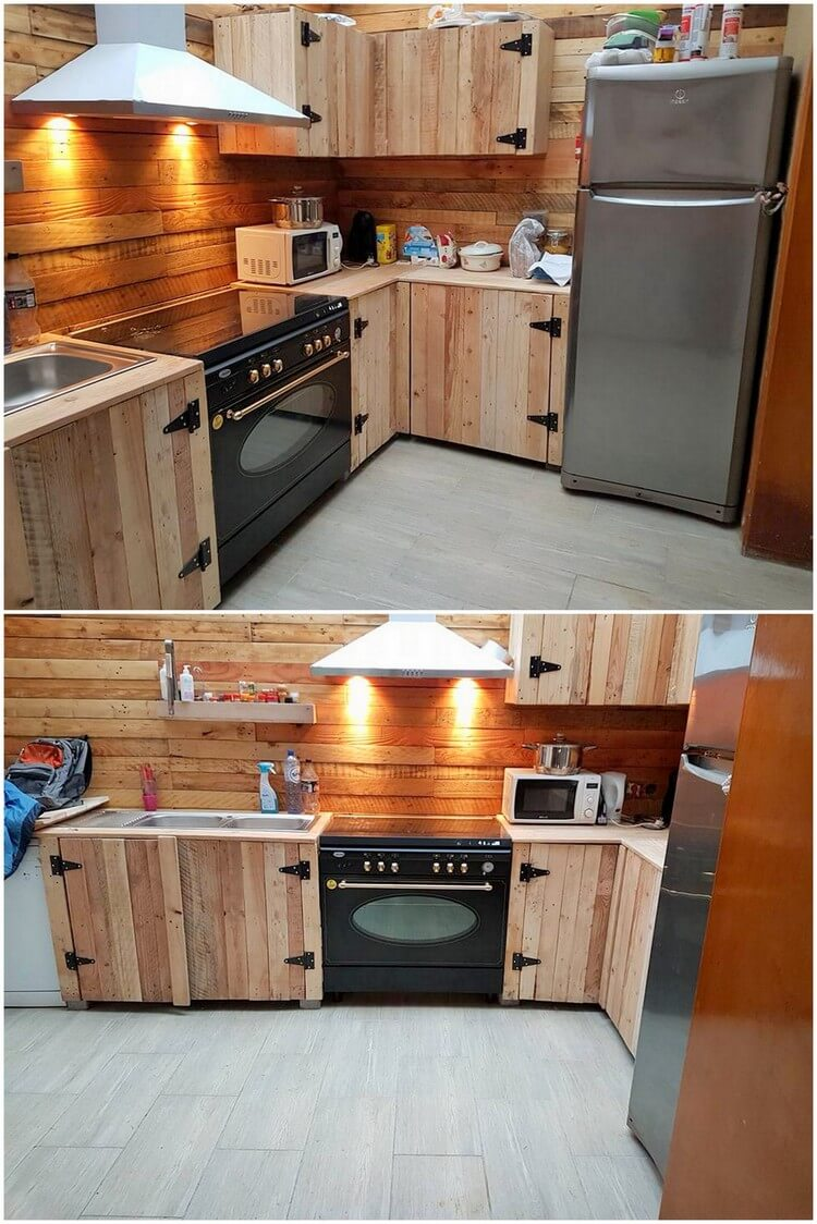 Awesome diy ideas for wood pallets repurposing pallet for Kitchen units made from pallets