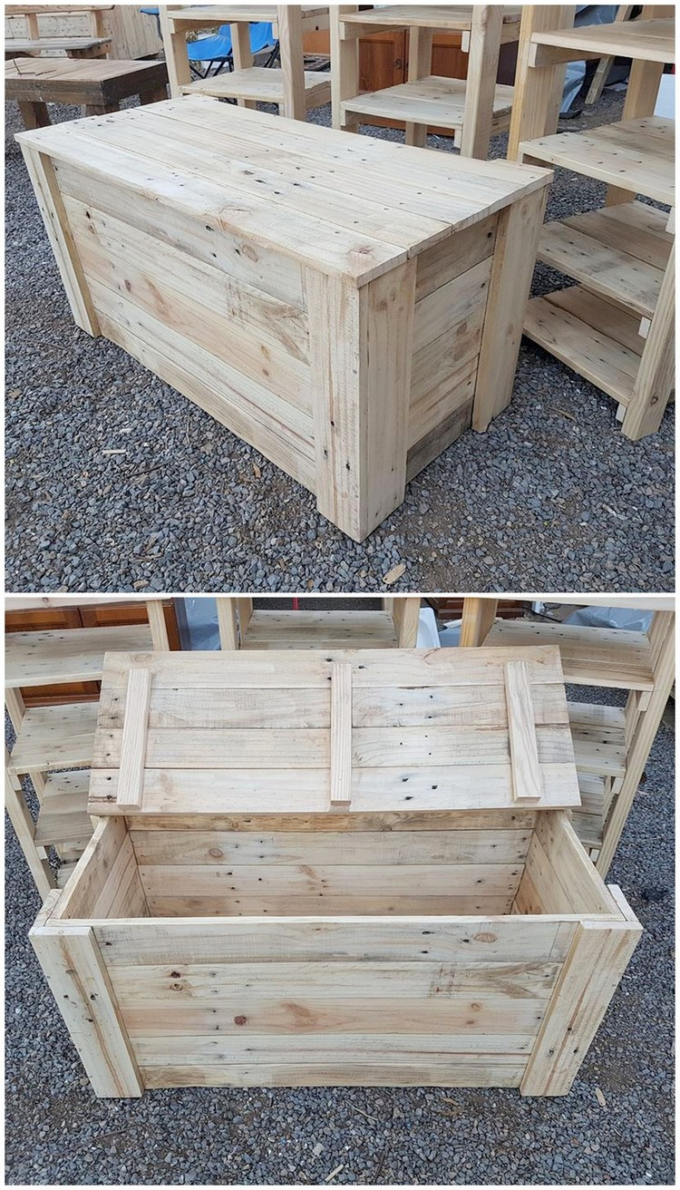 Genius ideas for reusing old wooden pallets pallet wood for Storage box made from pallets