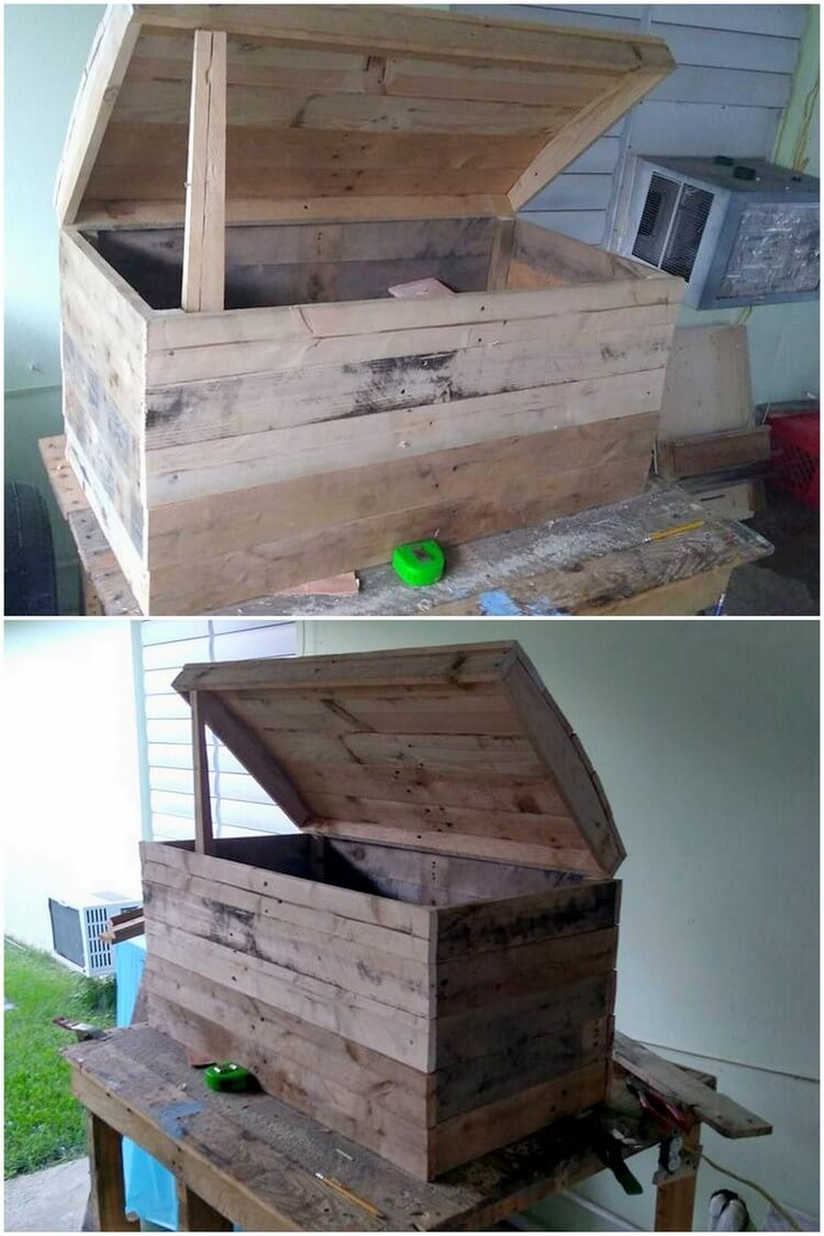 Cool and easy diy projects made with old wooden pallets for Storage box made from pallets