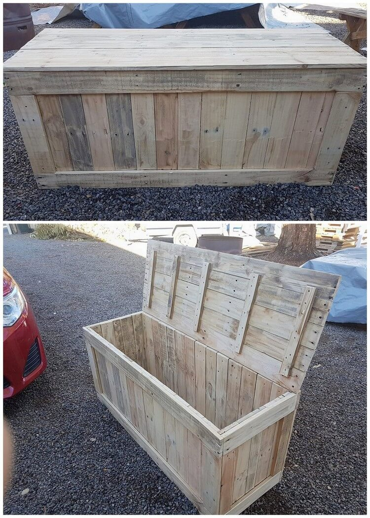 Cheapest diy ideas with old shipping wood pallets pallet for Storage box made from pallets