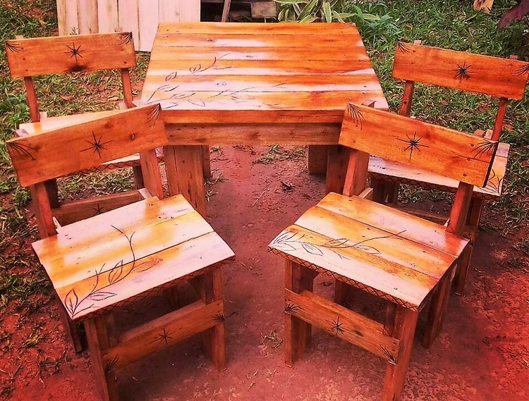 Pallet Table and Chairs Furniture Set for Kids