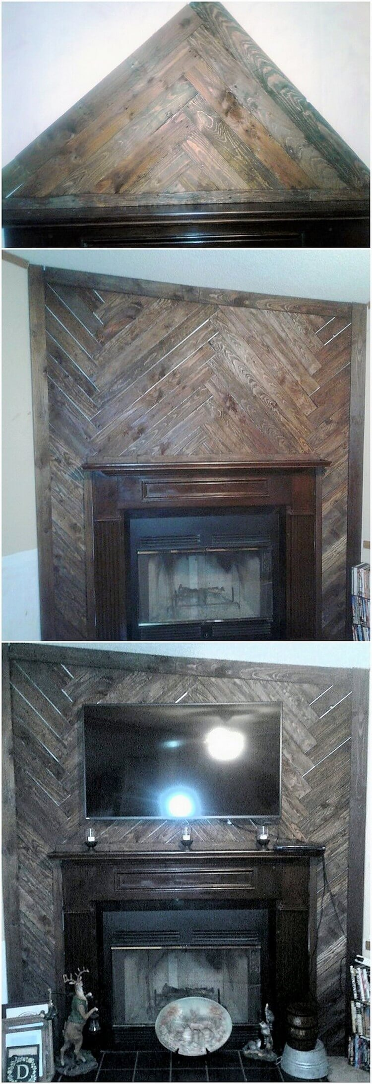 Pallet Wall Paneling with LED Stand and Fire Place
