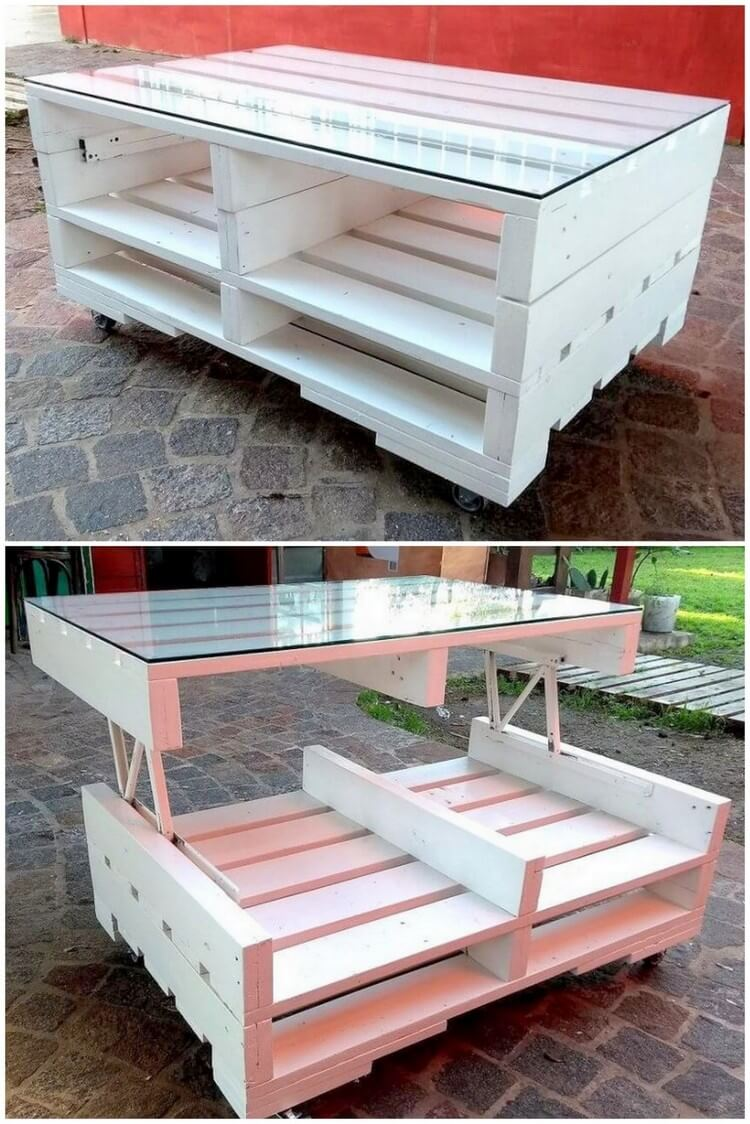 Pallet White Top Up Coffee Table