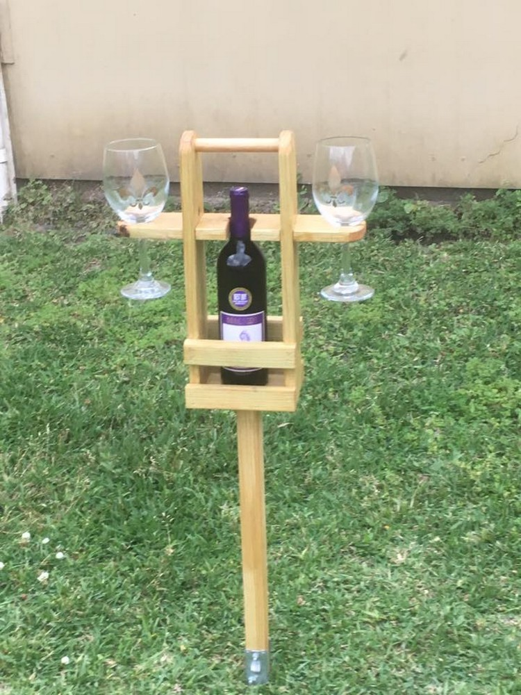 Pallet Wine Rack Stand with Glass Holders